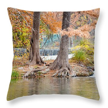 Panorama Of Guadalupe River In Hunt Texas Hill Country Throw Pillow