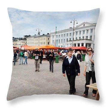 Panorama Of Helsinki Inner Harbor Panorama Throw Pillow by Thomas Marchessault