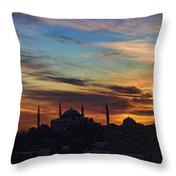 Panorama Of Istanbul Sunset- Call To Prayer Throw Pillow by David Smith