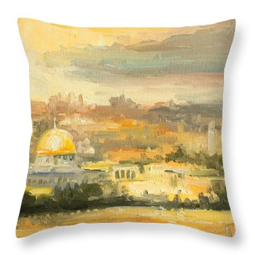 Panorama Of Jerusalem Throw Pillow