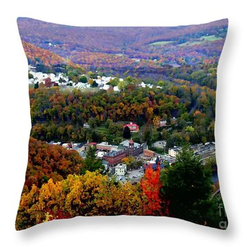 Panorama Of Jim Thorpe Pa Switzerland Of America - Abstracted Foliage Throw Pillow