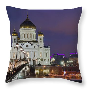 Panorama Of Moscow Cathedral Of The Christ The Savior - Featured 3 Throw Pillow by Alexander Senin