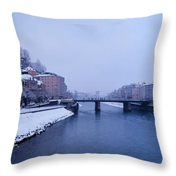 Panorama Of Salzburg In The Winter Throw Pillow by Sabine Jacobs
