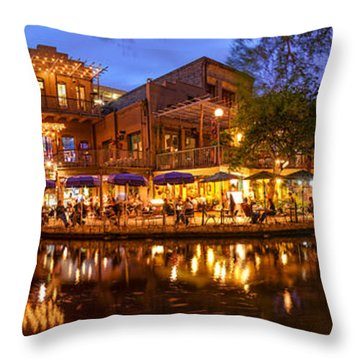 Panorama Of San Antonio Riverwalk At Dusk - Texas Throw Pillow