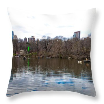 Panorama Of The Lake Of Central Park New York City Throw Pillow by Thomas Marchessault