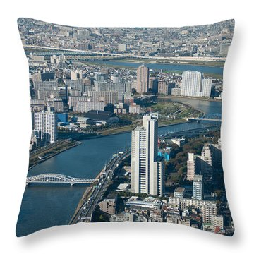 Panorama Of Tokyo Throw Pillow by Jill Mitchell