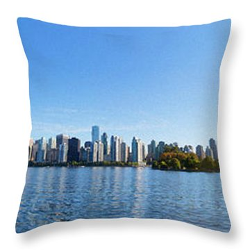 Panorama Of Vancouver Harbor Throw Pillow