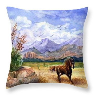 Panorama Triptych Don't Fence Me In  Throw Pillow by Marilyn Smith