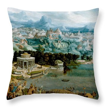 Panorama With The Abduction Of Helen Amidst The Wonders Of The Ancient World Throw Pillow