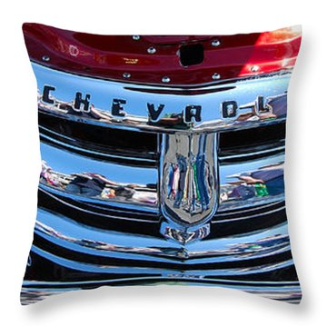 Panoramic Chevy Grill Throw Pillow