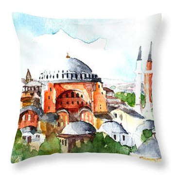 Panoramic Hagia Sophia In Istanbul Throw Pillow