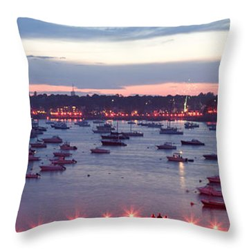 Panoramic Of The Marblehead Illumination Throw Pillow
