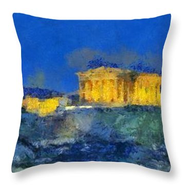Panoramic Painting Of Acropolis In Athens Throw Pillow