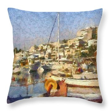 Panoramic Painting Of Mikrolimano Port Throw Pillow