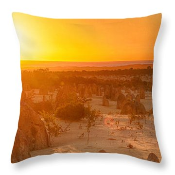 Panoramic Photo Of Sunset At The Pinnacles Throw Pillow