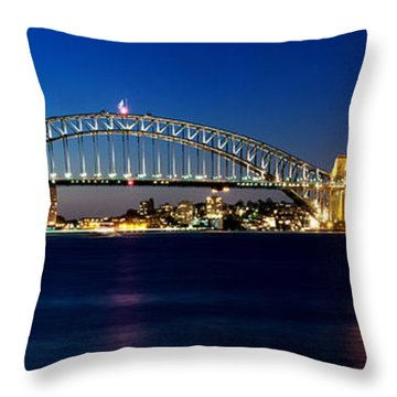 Panoramic Photo Of Sydney Night Scenery Throw Pillow