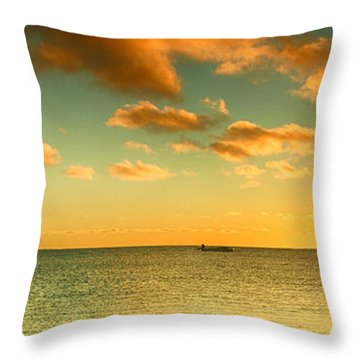 Panoramic Photo Sunrise At Monky Mia Throw Pillow