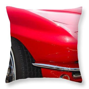 panoramic red Corvette Throw Pillow