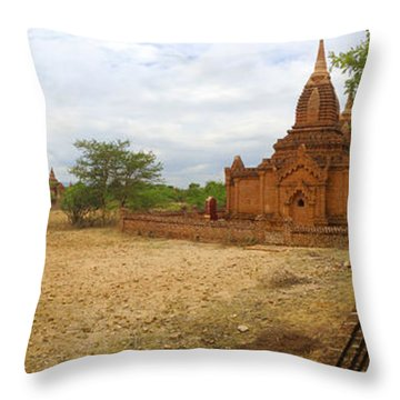 Throw Pillow featuring the photograph Panoramic View Next To Dhammayazika Pagoda Built In 1196 By King Narapatisithu by Ralph A  Ledergerber-Photography