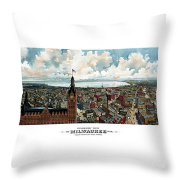 Panoramic View Of Milwaukee Wisconsin Throw Pillow by War Is Hell Store