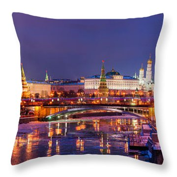 Panoramic View Of Moscow River And Moscow Kremlin  - Featured 3 Throw Pillow