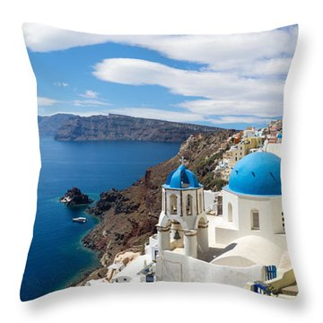 Panoramic View Of The Oia Village Throw Pillow