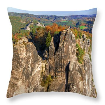 Panoramic Views Of Neurathen Castle Throw Pillow