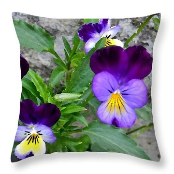 Pansies - Painterly Throw Pillow