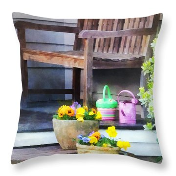 Pansies And Watering Cans On Steps Throw Pillow by Susan Savad