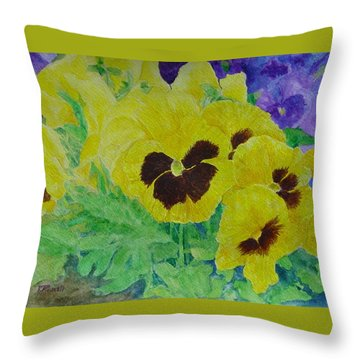 Pansies Colorful Flowers Floral Garden Art Painting Bright Yellow Pansy Original  Throw Pillow