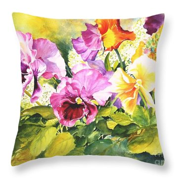 Pansies Delight #3 Throw Pillow
