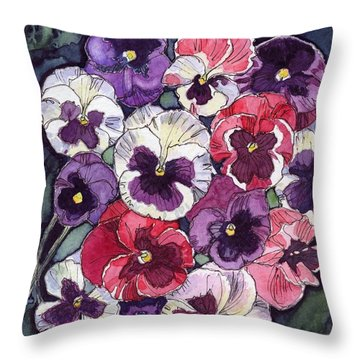 Pansies Throw Pillow by Katherine Miller