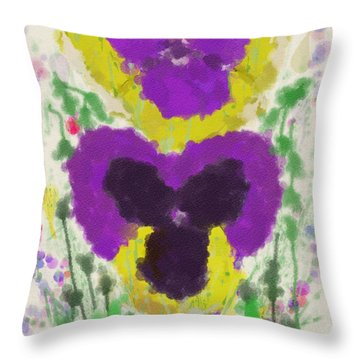 Pansies Throw Pillow by Mary M Collins