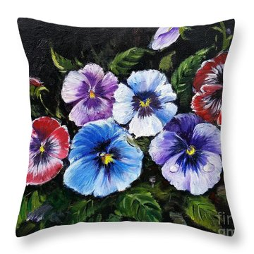 Throw Pillow featuring the painting Pansies by Rose Wang
