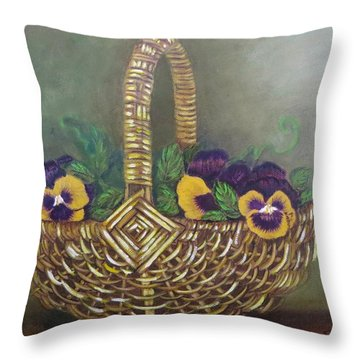 Pansy Basket Sherry Nelson Study Throw Pillow