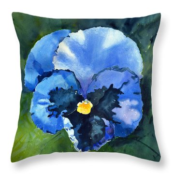 Pansy Blue Throw Pillow