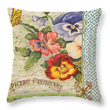 Pansy Garden-b Throw Pillow by Jean Plout