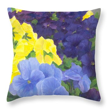 Pansy Garden Bright Colorful Flowers Painting Pansies Floral Art Artist K. Joann Russell Throw Pillow