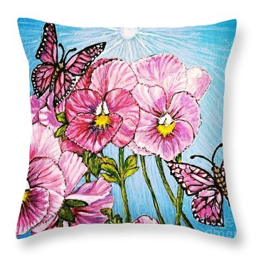 Throw Pillow featuring the painting Pansy Pinwheels And The Magical Butterflies With Blue Skies by Kimberlee Baxter