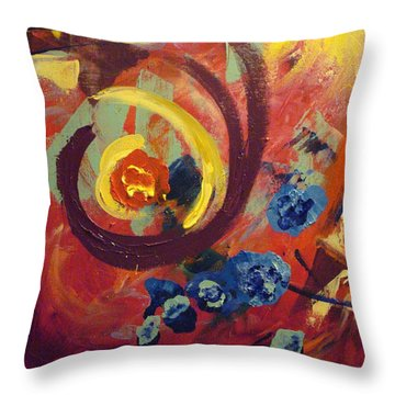 Throw Pillow featuring the painting Pansymania by Donna Tuten