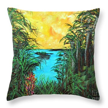 Throw Pillow featuring the painting Panther Island In The Bayou by Alys Caviness-Gober