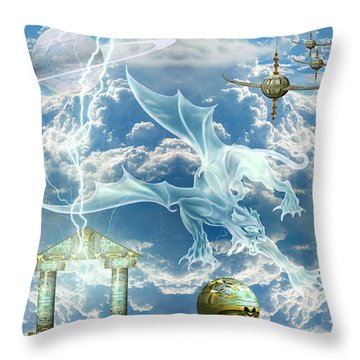 Panthera Draconis Realm Throw Pillow