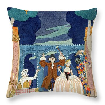 Pantomime Stage Throw Pillow by Georges Barbier