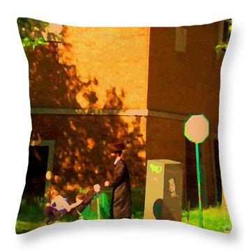 Papa And The Little Ones Sunday Afternoon Stroll On The Avenues Montreal City Scene Carole Spandau Throw Pillow by Carole Spandau