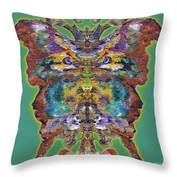 Papalotl Series Vlll Throw Pillow by Ricardo Chavez-Mendez