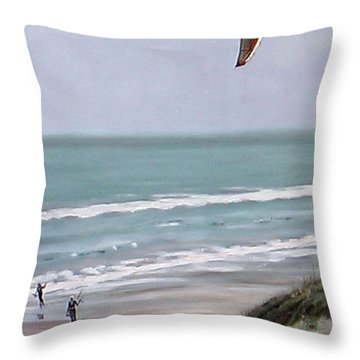 Throw Pillow featuring the painting Papamoa Beach 090208 by Sylvia Kula
