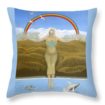 Papatuanuku / Capricorn Throw Pillow by Karen MacKenzie