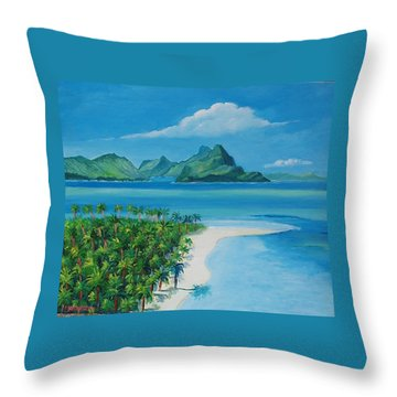 Papeete Bay In Tahiti Throw Pillow