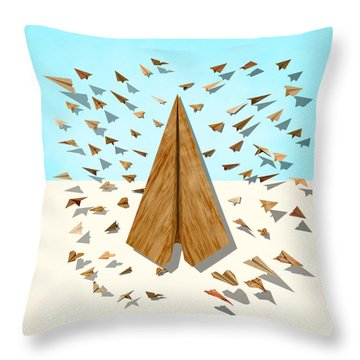 Paper Airplanes Of Wood 10 Throw Pillow by YoPedro
