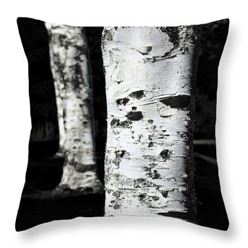 Black And White Throw Pillow featuring the photograph Paper Birch by Aaron Berg